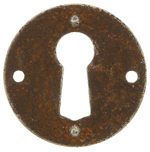 Steel Cabinet Keyhole Cover In Distressed Rust Finish