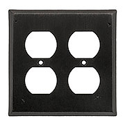Cast Bronze Double-Gang Duplex Outlet Cover with Distressed Matte-Black Finish