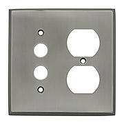 Forged Brass Split Function Duplex/Push Button Switch Plate in Antique Pewter