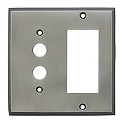 Forged Brass Split Function Push Button/GFI Switch Plate in Antique Pewter
