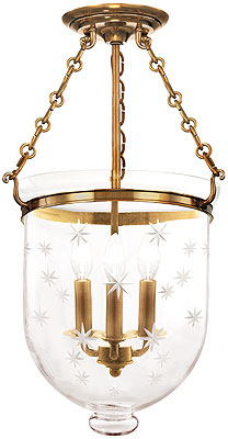 Hampton Large Bell Jar Ceiling Light With Etched Star