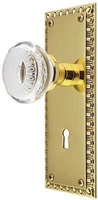 Ovolo Mortise Lock Set With Ovolo Crystal Glass Knobs And