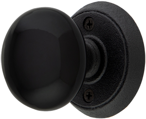 Wrought Steel Rosettes With Black Porcelain Door Knobs | House of ...