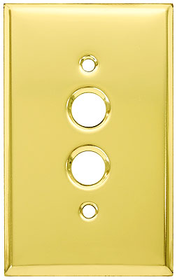 ANTIQUE VINTAGE 2 GANG 4 HOLE BRASS PUSH BUTTON LIGHT SWITCH PLATE 3 AVAILABLE
