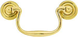 Swan-Neck Brass Bail Pull with Ringed Round Rosettes - 3 1/2