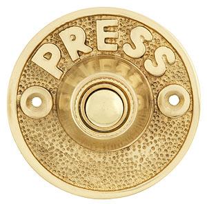 Vintage Quot Press Quot Door Bell Button In Solid Cast Brass