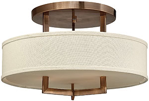Mid Century Modern Style Ceiling Lights | House of Antique Hardware:Hampton Large Close Ceiling Light With Linen Drum Shade (item #RS-03HK-,Lighting