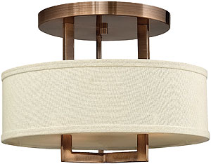 Mid Century Modern Style Ceiling Lights | House of Antique Hardware:Hampton Small Close Ceiling Light With Linen Drum Shade (item #RS-03HK-,Lighting