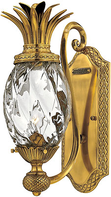 Plantation Pineapple Wall Sconce With Clear Optic Glass