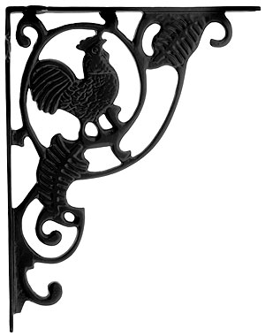 x iron rooster brackets shelf bracket media cast