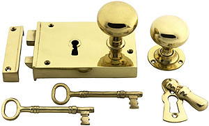 Large Colonial Brass Rim Lock With Solid Brass Knobs