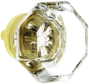 Octagonal Clear Glass Knob With Brass Base House Of