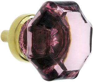 Octagonal Amethyst Glass Knob With Brass Base House Of