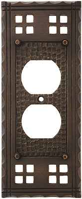Arts and crafts duplex outlet cover plate in oil rubbed for Arts and crafts outlet covers