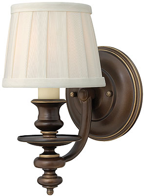 Bronze Wall Sconce With Fabric Shade : Dunhill Single Sconce In Royal Bronze With Pleated Fabric Shade House of Antique Hardware