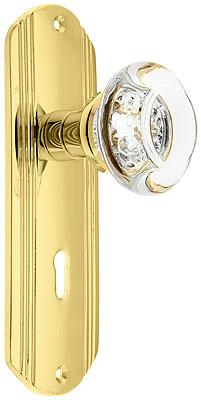 Streamline Deco Door Set With Round Crystal Glass Knobs