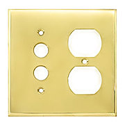 Forged Brass Split Function Duplex/Push Button Switch Plate in Polished Brass