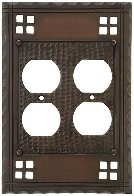 arts and crafts double duplex outlet cover plate in oil