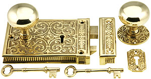 Brass Scroll Rim Lock Set With Solid Brass Door Knobs