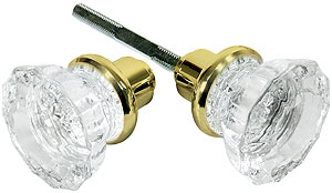 Pair Of Fluted Glass Door Knobs With Solid Brass Shank