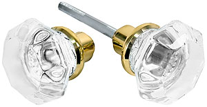 Pair of Octagonal Glass Door Knobs With Solid Brass Shank | House of ...