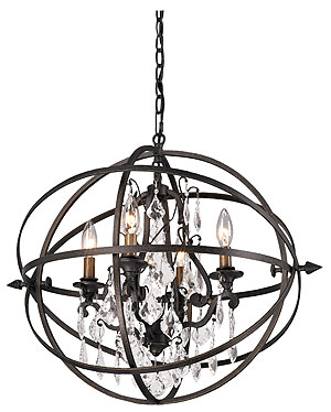 byron collection 4 light chandelier in vintage bronze house of antique hardware. Black Bedroom Furniture Sets. Home Design Ideas