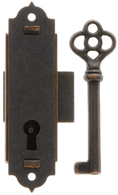 Narrow Vertical Cabinet Lock With Antique Bronze Finish