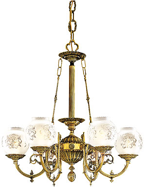 English Victorian 6 Light Chandelier With Etched Glass Shades