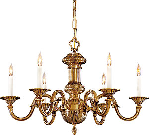 English Georgian 6 Light Chandelier In Classic Brass Finish