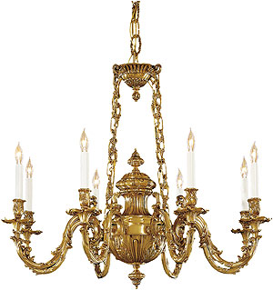 English Rococo 8 Light Chandelier In Antique Classic Brass