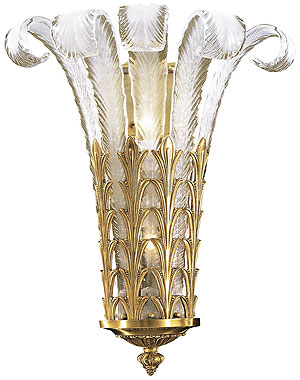 Art Deco Plume Glass Sconce With French Gold Finish
