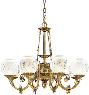 English Victorian 8 Light Chandelier With Etched Glass