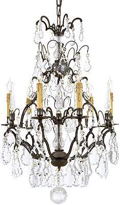 French crystal 6 light chandelier with patina bronze finish house french crystal 6 light chandelier with patina bronze finish aloadofball Gallery