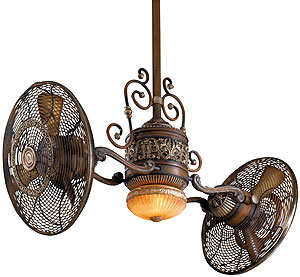 Traditional Gyro Twin Ceiling Fan In Belcaro Walnut Finish