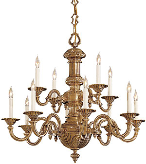 English Georgian 12 Light Chandelier In Classic Brass