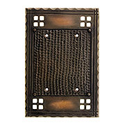 Arts and Crafts Double Gang Blank Switch Plate In Oil-Rubbed Bronze