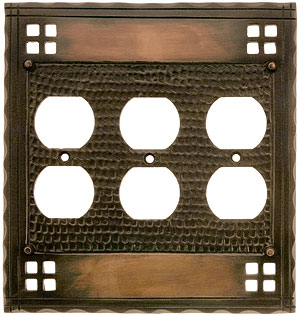 Arts and crafts triple duplex outlet cover plate for Arts and crafts outlet covers