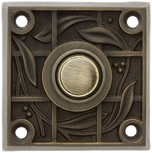 Solid Brass Vine Amp Trellis Pattern Doorbell Button In