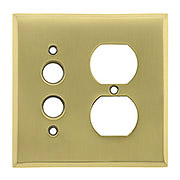 Traditional Forged Brass Push Button / Duplex Combination Switch Plate in Highlighted Antique