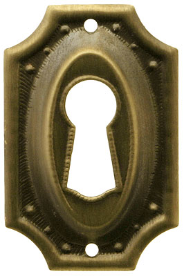 Stamped Brass Colonial Revival Keyhole Cover In Antique By
