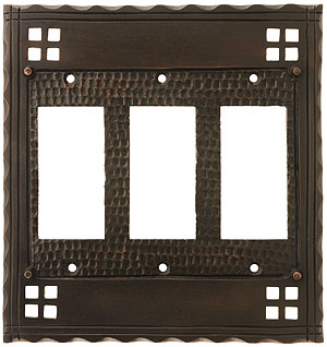 Arts and crafts triple gfi outlet cover plate in oil for Arts and crafts outlet covers