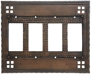 Arts And Crafts Quad Gfi Outlet Cover Plate In Oil Rubbed