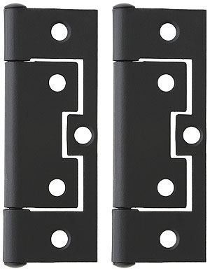 Pair of 3 non mortise cabinet hinges in flat black for Black hinges for kitchen cabinets