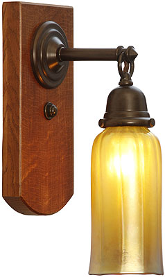 Thorson White Oak And Brass Sconce In Bronze Finish
