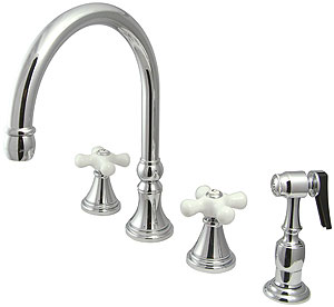 Bar Harbor Double Handle Kitchen Faucet With Sprayer And
