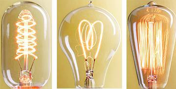 three unique bulbs
