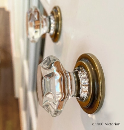 Octagonal crystal wardrobe knobs on the kitchen pantry doors