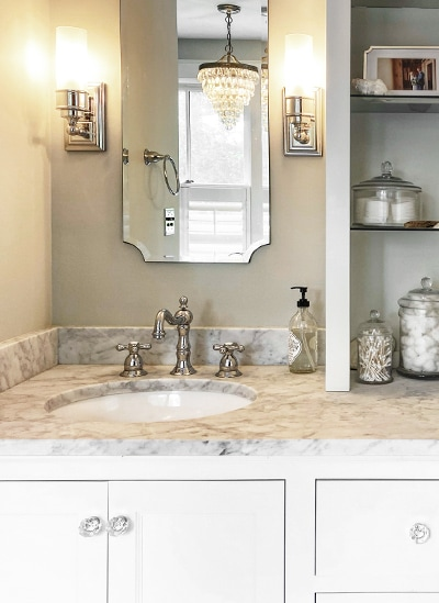 The master bath vanity with octagonal crystal cabinet knobs