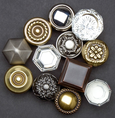 Array of cabinet knobs in many styles and finishes