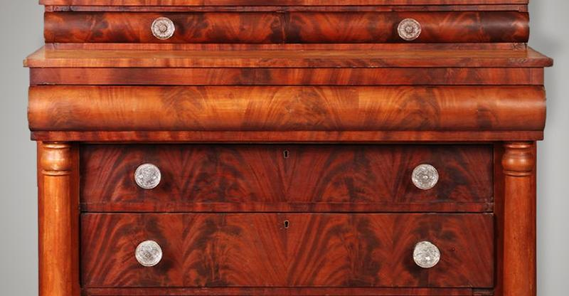 Circa 1840 empire style sideboard with sandwich glass drawer pulls